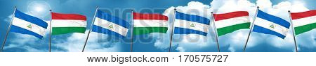 nicaragua flag with Hungary flag, 3D rendering