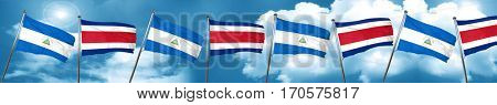 nicaragua flag with Costa Rica flag, 3D rendering