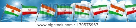 niger flag with Iran flag, 3D rendering
