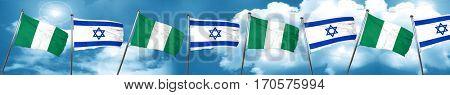 Nigeria flag with Israel flag, 3D rendering