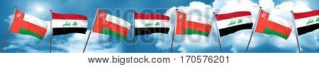 Oman flag with Iraq flag, 3D rendering