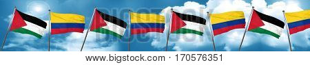 palestine flag with Colombia flag, 3D rendering