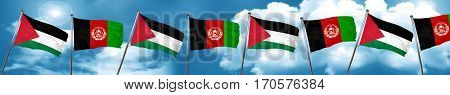 palestine flag with afghanistan flag, 3D rendering