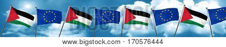 palestine flag with european union flag, 3D rendering