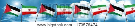 palestine flag with Iran flag, 3D rendering