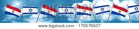 Paraguay flag with Israel flag, 3D rendering