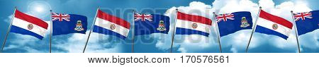 Paraguay flag with Cayman islands flag, 3D rendering