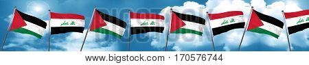 palestine flag with Iraq flag, 3D rendering