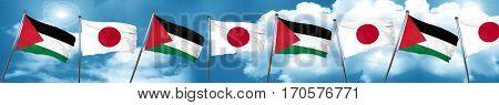 palestine flag with Japan flag, 3D rendering