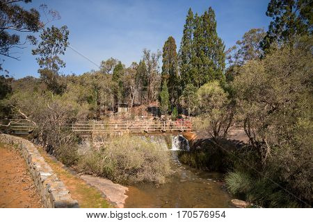 A Pedestrian Bridge Over The Water Falls And River In John Forrest National Park