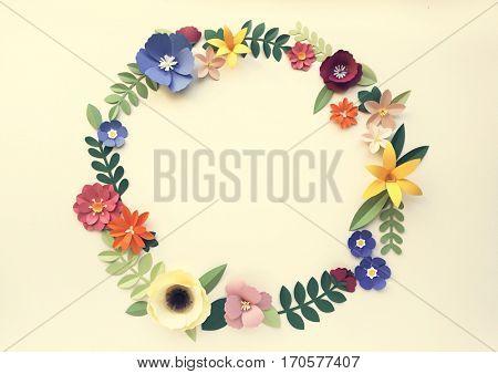 Flowers Handmade Papercraft Art Circle