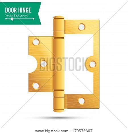 Door Hinge Vector. Classic And Industrial Ironmongery Isolated On White Background. Simple Entry Door Metal Hinge Icon. Gold, Brass. Stock Illustration.