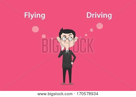 Comparing benefits between flying or driving illustration with a white bubble text vector