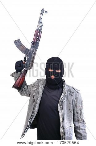 Terrorist With Ak47 Machine Gun