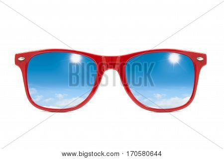 Red Sunglasses With Sky And Clouds In Reflection Isolated