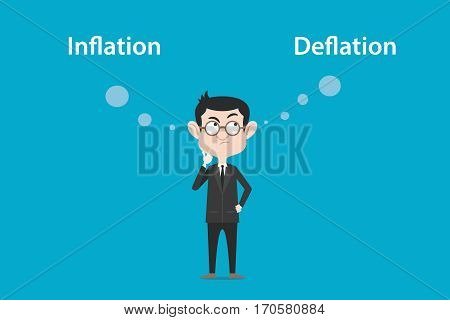 thinking about the difference of inflation vs deflation illustration with a white bubble text vector