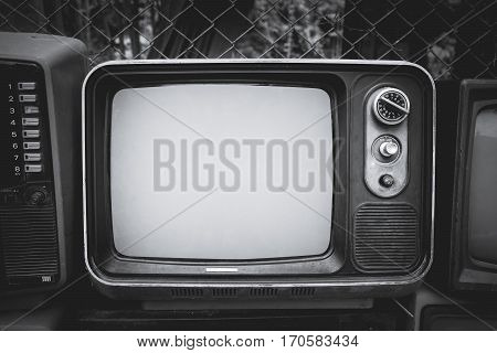 Retro old television in vintage black and whitel color style. retro technology.