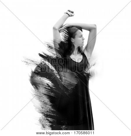 Black and white photograph of an elegant woman combined with ink brushstrokes