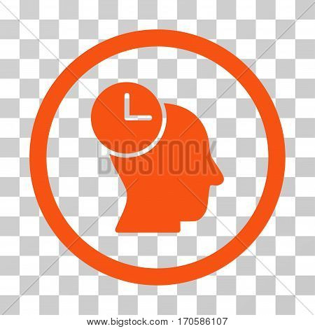 Time Thinking rounded icon. Vector illustration style is a flat iconic symbol inside a circle orange color transparent background. Designed for web and software interfaces.