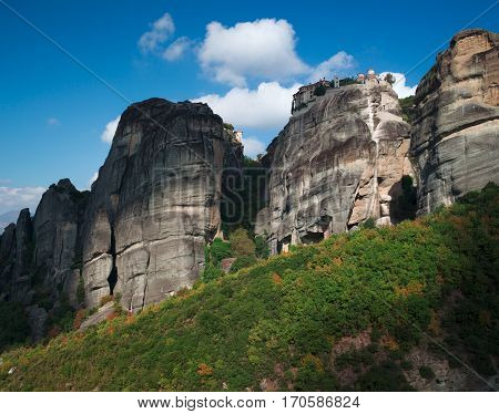 The Meteora - is a formation of immense monolithic pillars and hills like huge rounded boulders which dominate the local area.
