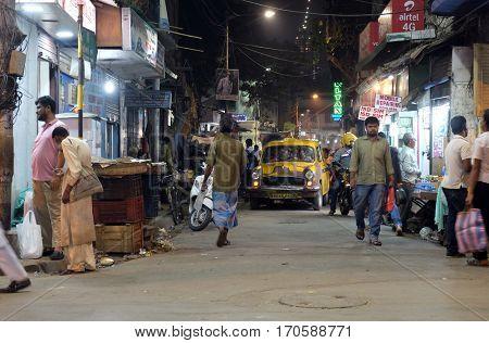 KOLKATA, INDIA - FEBRUARY 08: Night time shopping near New Market in Kolkata, India on February 08, 2016.