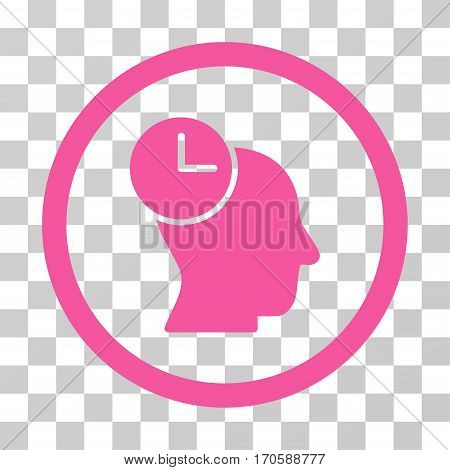 Time Thinking rounded icon. Vector illustration style is a flat iconic symbol inside a circle, pink color, transparent background. Designed for web and software interfaces.