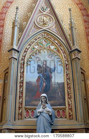 VELESEVEC, CROATIA - AUGUST 23: Saint Roch altar in the Parish Church of Saint Peter in Velesevec, Croatia on August 23, 2011.