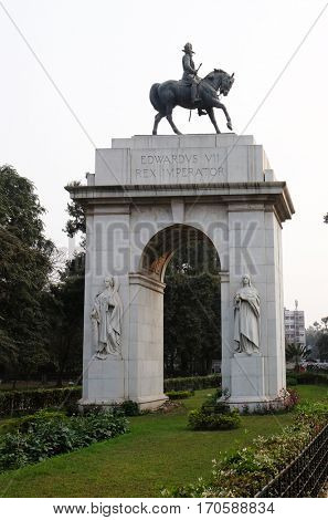 KOLKATA, INDIA - FEBRUARY 08: Edwards VII Rex imperator statue, southern entrance of Victoria Memorial building in Kolkata, West Bengal, India on February 08, 2016