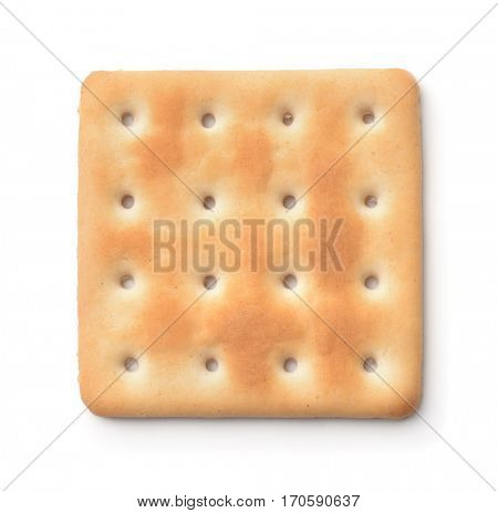 Top view of soda cracker isolated on white