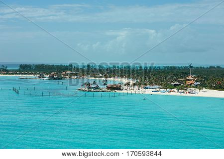 Aerial view on beach in Bahamas island with blue clear water. Resort on Bahamas island