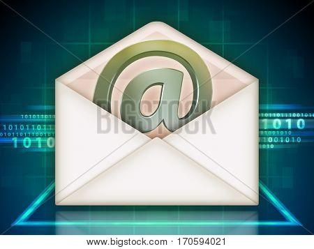 Open mail envelope with an email symbol. 3D illustration.