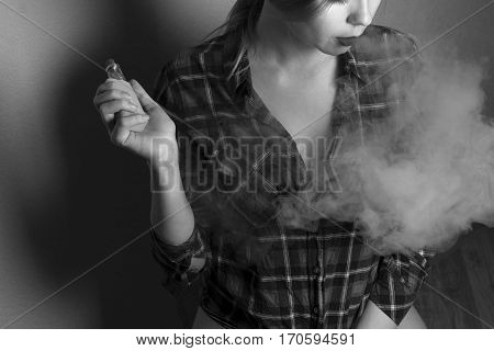 vape (e-cigarette electronic cigarette) girl in Black and White