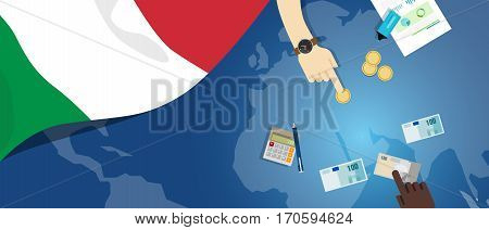 Italy economy fiscal money trade concept illustration of financial banking budget with flag map and currency vector
