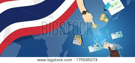 Thailand economy fiscal money trade concept illustration of financial banking budget with flag map and currency vector