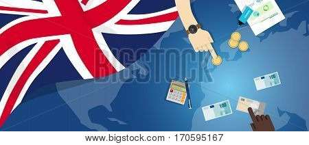 UK United Kingdom England economy fiscal money trade concept illustration of financial banking budget with flag map and currency vector