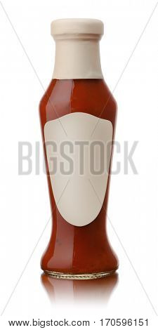 Glass bottle of hot tomato sauce with blank label isolated on white