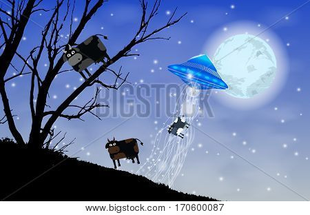 Ufo Abducts Cows Silhouette. Cow On The Tree
