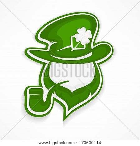 Leprechaun With Pipe On White