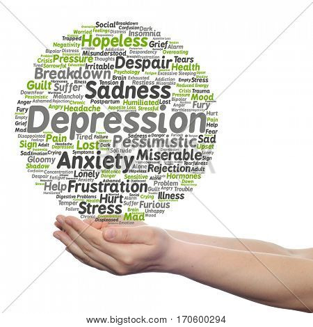 Concept conceptual depression mental emotional disorder abstract word cloud held in hands isolated on background metaphor to anxiety, sadness, negative, sad problem despair unhappy frustration symptom