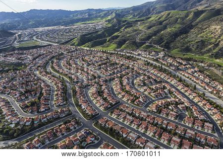 Aerial view of Porter Ranch neighborhoods in the northwest San Fernando Valley area of Los Angeles, California.