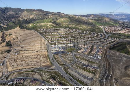 New neighborhood construction in the Porter Ranch area of Los Angeles, California.