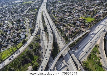 Golden State 5 and Route 118 freeway crossing in the San Fernando Valley area of Los Angeles, California.