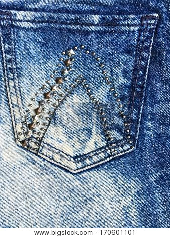 jeans denim fabric with adorned and rhinestones.