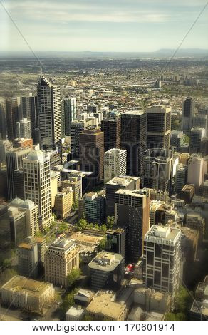 Aerial view of buildings in Downtown Melbourne with tilt shift effect