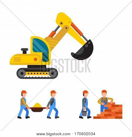 Building under construction, workers and technic vector illustration. Excavator truck crane machine isolated. Machinery material occupation heavy industry.