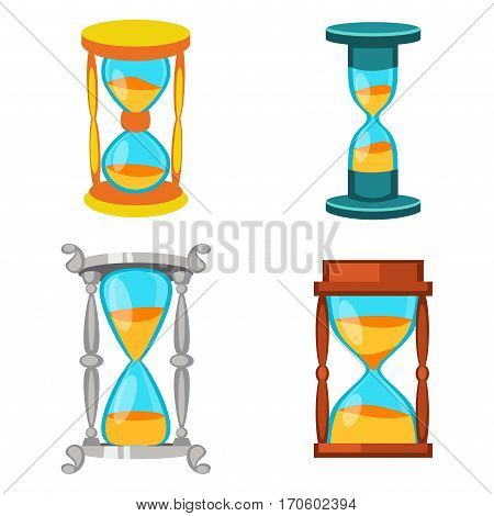 Sandglass icon time flat design history second old object. Vector illustration sand clock hourglass timer hour minute watch countdown flow measure.