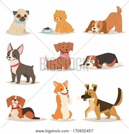 Funny cartoon dogs characters different breads illustration. in cartoon style. Funny happy puppy isolated friendly mammal. Domestic element group flat comic canine.