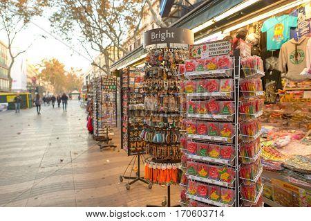 BARCELONA, SPAIN - NOVEMBER 20, 2015: tourist gift shop kiosk in Barcelona. Barcelona is the capital city of the autonomous community of Catalonia in the Kingdom of Spain.