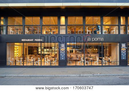 BARCELONA, SPAIN - NOVEMBER 20, 2015: a restaurant in Barcelona. Barcelona is the capital city of the autonomous community of Catalonia in the Kingdom of Spain.