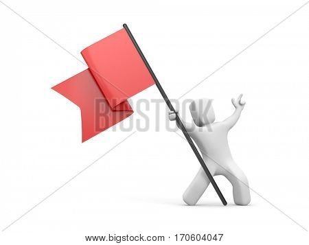 3d man waving red flag. 3d people collection. 3d illustration